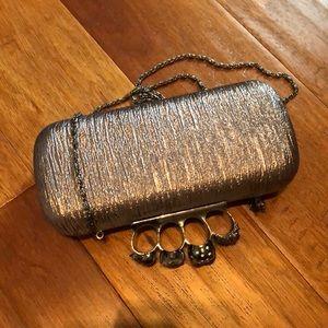 Gunmetal silver brass knuckles handle bag